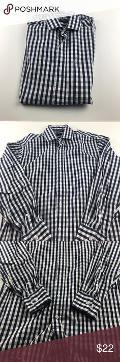 """Tommy Hilfiger Regular Fit Button Down 15-15 1/2 M In great preworn condition. Size medium. Navy and white picnic plaid print. Armpit to armpit- 21"""" #PMW-0015 Tommy Hilfiger Shirts Casual Button Down Shirts"""