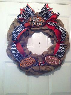 War Eagle/Roll Tide Collegiate Burlap,Wreath Roll Tide/War Eagle Wreath,Collegiate Wreaths,House Divided Wreath,War Eagle Wreath,Bama Wreath