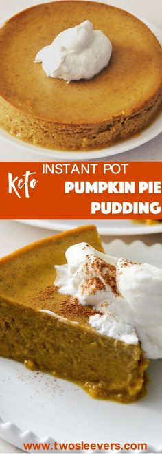 Sideways shot of a slice of crustless pumpkin pie. Perfect, crustless pumpkin pie pudding makes a lovely keto, low carb pumpkin pie dessert in your Instant Pot or Pressure cooker. This is an easy dump…More Easy Low Carb Dessert Ideas Keto Friendly Desserts, Low Carb Desserts, Low Carb Recipes, Vegetarian Recipes, Pescatarian Recipes, Low Carb Keto, Free Recipes, Low Carb Cheesecake, Cheesecake Recipes