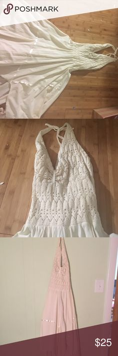 Off white Boho style dress Bought in Mexico on honeymoon. Beautiful material and crochet work! No tag, not sure how it was made but it's amazing. Dresses