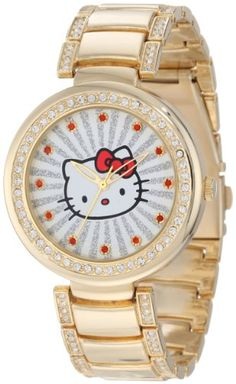 Hello Kitty Women's H3WL1046GD Gold-Tone Case and Bracelet Accent Ribbed Ray Watch Hello Kitty, MEN'S AND WOMEN'S WATCHES to buy just click on amazon right here http://www.amazon.com/dp/B00A3M29VS/ref=cm_sw_r_pi_dp_Uf8Jsb04S2PGXAZH