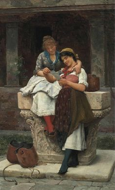The Love Letter Painting by Eugene de Blaas | Oil Painting