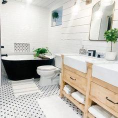 Airbnb bathroom remodel Cottage Kitchen Tiles, Modern Farmhouse Bathroom, Cottage Kitchens, Bathroom Storage, Bathroom Interior, Small Bathroom, Master Bathroom, Tiny Half Bath, Room Freshener