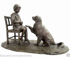 Japanese BRONZE Daidouji Mitsuhiro BEST FRIEND - SOCIALIZING Man and Dog Statue in Antiques, Asian Antiques, Japan, Statues | eBay