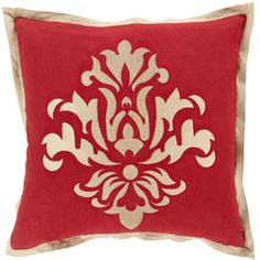 This NEW Surya cherry red decorative pillow with beige accents brings holiday warmth to any living space (CT-005)