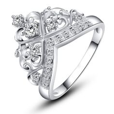 Rose Princess 18K White Gold Plated Sterling Silver Created White Topaz Crown Ring (Sterling-silver, 9) Rose Princess http://www.amazon.com/dp/B00NEMVMIU/ref=cm_sw_r_pi_dp_C4D9ub1E70S24