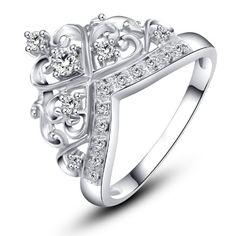 Rose Princess 18K White Gold Plated Sterling Silver Created White Topaz Crown Ring (Sterling-silver, 9) Rose Princess http://www.amazon.com/dp/B00NEMVMIU/ref=cm_sw_r_pi_dp_C4D9ub1E70S24