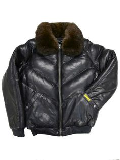 DOUBLE GOOSE  V Bomber Leather Down Jacket