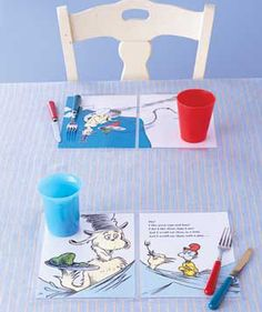 Laminated childrens' book pages as place mats - cute idea!