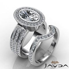 Oval Diamond Halo Pave Engagement Ring Bridal Set EGL F SI1 14k White Gold 3 3ct | eBay