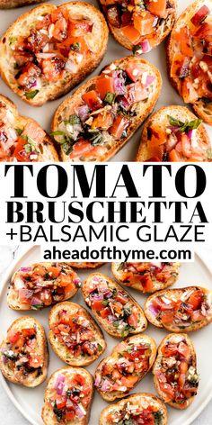 Italian Appetizers Easy, Tomato Appetizers, Tomato Bruschetta, Appetizer Recipes, Snack Recipes, Cooking Recipes, Party Recipes, Italian Bread, Italian Cooking