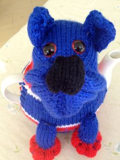 Western Bulldogs FC Colours - Knitted Tea Cosy from the Marianne Collection.