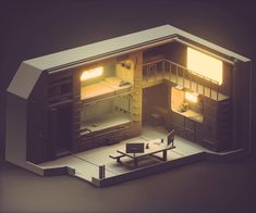 Did a little work on a new room last night. Compact living quarters for planetary exploration or a pop up habitat for when your research takes you to the middle of no where. Isometric Art, Isometric Design, Cyberpunk Aesthetic, Cyberpunk Art, Flat Design, 3d Design, House Design, Blender 3d, Game Room Kids