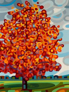 abstract contemporary landscape painting art tree maple red fall sky canada ontario