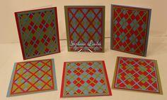 Argyle Card Set - Old Olive, Real Red, Marina Mist