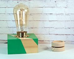 Table Lamp - Table Lamps Under 50 - Simple Table Lamp - Green Desk Lamp - New Home Gift - Modern Lamps - Ampoule Edison - Edi's Lamps