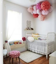 luscious pom pom - decorating with stripes polka dots and pom poms - myLusciousLife.com .jpg painted white crib white rud, white curtains