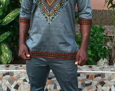 Odeneho Wear Men's Polished Cotton Top With Dashiki by Odenehowear