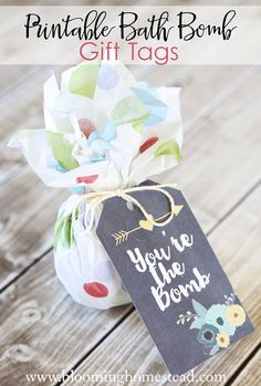Printable Bath Bomb Gift Tags-perfect for teacher appreciation or mother's day gifts