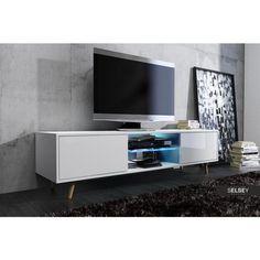 MEUBLE TV Meuble TV RIVANO blanc mat/blanc brillant avec LED bleue
