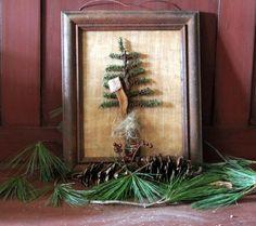 Primitive handmade framed tree