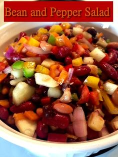 Bean and Pepper Salad http://www.momspantrykitchen.com/bean-and-pepper-salad.html