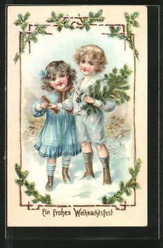 cartolina antiche: AK Ein frohes Weihnachtsfest, Kinder mit Tannenzweig