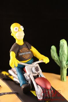 Homer Simpson cake handsculpted with modeling chocolate