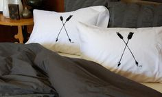 Arrows Screen Printed Pillowcase Pair Standard- Arrow- Modern Bedding- Arrow Pilllowcase- Pillow Cover