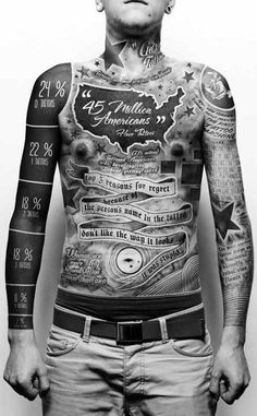 A tattoo artist tattoos a giant infographic about tattoos on himself. I love it.