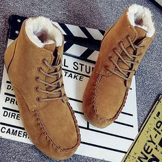 Designer Suede Ankle Pure Color Fur Lining Lace Up Flat Boots For Women    NewChic