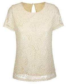 Apricot Short Sleeve Back Hollow Loose Lace T-Shirt