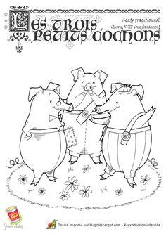Coloriage Les Trois Petits Cochons, page 13 sur 13 sur HugoLescargot.com