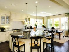 Large Curled Breakfast Bar  I would have a kitchen like this in my dream beach cottage but in beach hues!