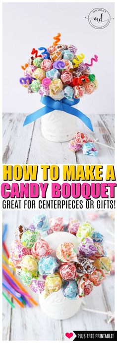 Candy Bouquet, DIY Dum Dum bouquet Centerpiece Instructions, Learn how to make a candy bouquet for weddings, parties, fun! Lollipop Centerpiece, Lollipop Bouquet, Candy Bouquet Diy, Party Table Centerpieces, Diy Bouquet, Lollipop Candy, Princess Centerpieces, Food Bouquet, Candelabra Centerpiece