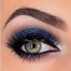 "Captivated by this stunning ✨Sparkly Blue and Silver smokey eye ✨by @Maya_Mia_y with our ""Kamilla"" mink lashes from Xtreme Collection Visit us at www.FlutterLashes.com"