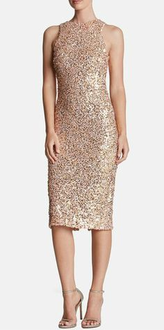 Rose gold sequin cocktail dress. Sequin midi dress.