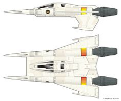 "Starfighter, aka ""Thunderfighter,"" Earth Defense Directorate. (Buck Rogers in the 25th Century - 1979) Paul Peters, art direction; William Stout, concept art."