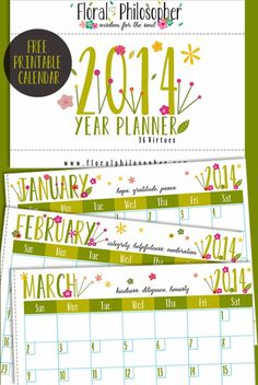 Free 2014 Calendar Printable #printable #free #calendar  Virtues  and Garden
