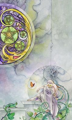 Five of Pentacles, Shadowscapes Tarot:  Spiritual poverty, material troubles, insecurity, hard times, neglecting the body's needs, being ostracized and excluded.
