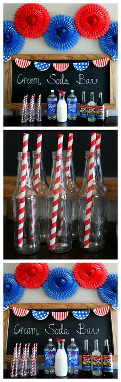 of july cream soda bar of july drink ideas. Patriotic Crafts, Patriotic Party, July Crafts, Holiday Crafts, Holiday Decor, 4th Of July Celebration, 4th Of July Party, Fourth Of July, 4th Of July Wreath
