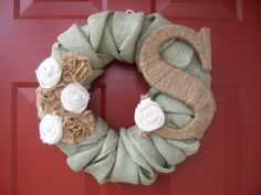 Personalized Twisted Burlap Wreath with Burlap Flowers
