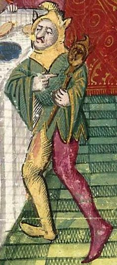 """The """"court jester"""" is a staple of modern ideas of the Middle Ages. He dresses in gaudy multicolored clothing with bells on his shoes, collar, and hat. Jester Costume, Jester Hat, Court Jester, Medieval Jester, Medieval Art, Medieval Books, Medieval Dress, Medieval Manuscript, Illuminated Manuscript"""