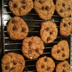 High protein low cal peanut butter cookies  115 Calories  6g Protein    1 Cup Peanut Butter (chunky or smooth)  1 Cup Brown Sugar  1 Egg  1 tsp baking soda  1/2-3/4 Chocolate Chips   (The 114 Calories is without chocolate chips)  Beat ingredients together  Drop by Tablespoon 2 inches apart on lined cookie sheet.   Bake 350 degrees for 8-10 min  Makes 20 cookies