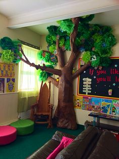Reading tree in the school library - time consuming to make but well worth it! (Paper tree for classrooms)