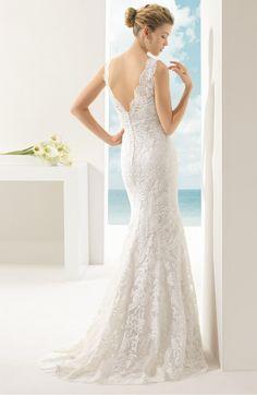 4b8959202b8 Rosa Clara Soft Vigo Beaded V-Neck Lace Overlay Mermaid Dress