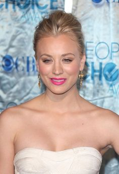 Kaley Cuocos sophisticated, updo hairstyle