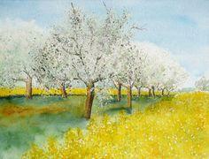Aquarell - Obstblüte in der Wetterau, Original-Aquarell - ein Designerstück von Giverny bei DaWanda