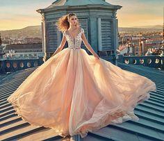 Here comes the bride! Loving this #pink #gown innovating #bridal #fashion! #GALA 607 by #GaliaLahav