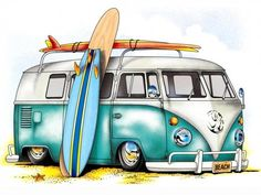 10 Volkswagen Beetle With Flower Stickers Ideas T1 Bus, Volkswagen Transporter, Volkswagen Bus, Vw T1, Transporter 1, Volkswagen Vintage, Vans Surf, Van Drawing, Beach Cars